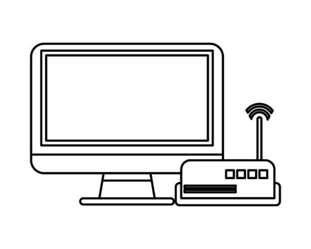 router wifi with computer display devices technology vector illustration design