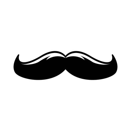 vintage mustache icon over white background, vector illustration