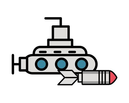 rocket military force with submarine vector illustration design