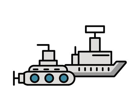 submarine military force with ship vector illustration design Illustration