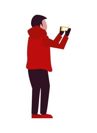 young boy with winter clothes taking picture with cellphone vector illustration design Ilustracja