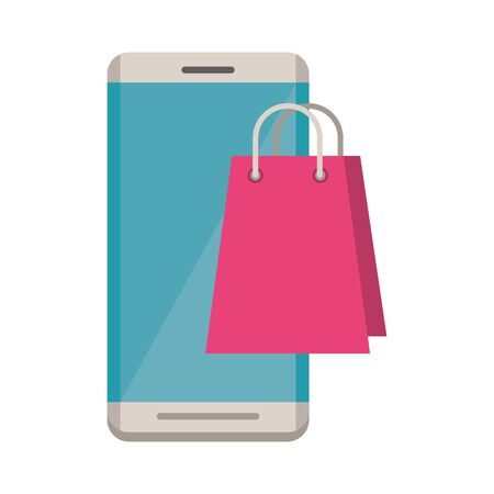 smartphone electronic with shopping bag vector illustration design