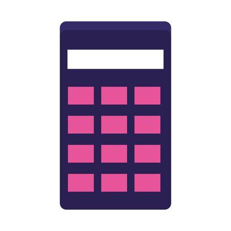calculator device icon over white background, flat design, vector illustration