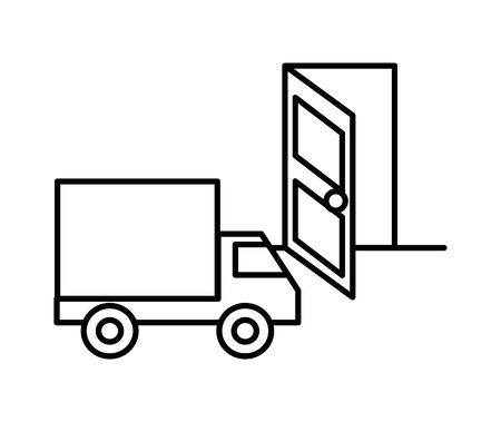 delivery service truck with door vector illustration design