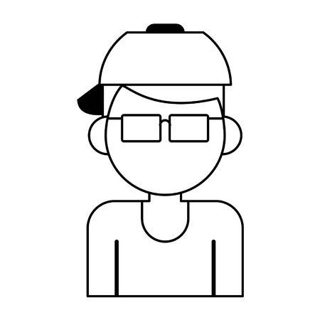 man avatar cartoon character portrait profile vector illustration graphic design Ilustracja