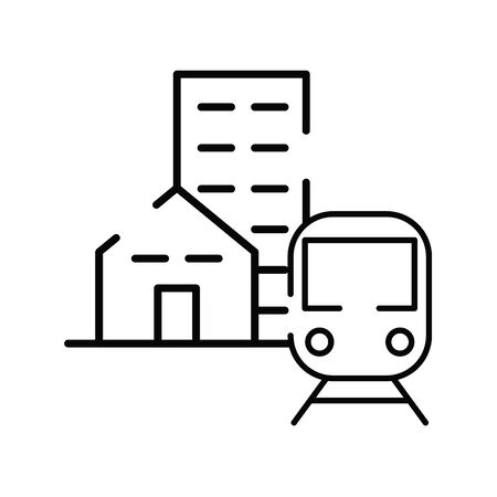 subway transport vehicle with buildings vector illustration design