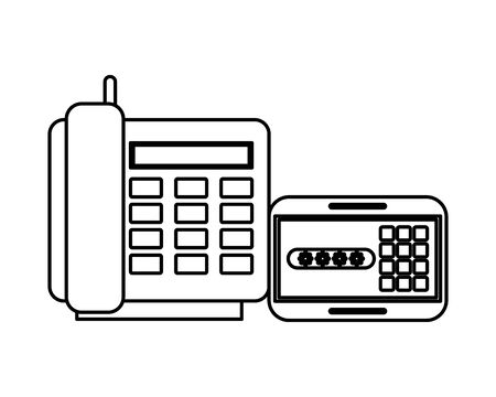 digital telephone and password display vector illustration design Ilustracja