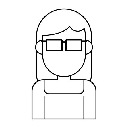 woman avatar cartoon character portrait profile vector illustration graphic design