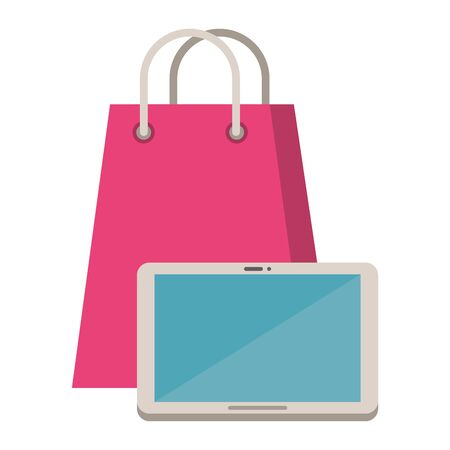 tablet electronic device with shopping bag vector illustration design