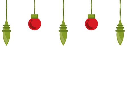 happy merry christmas bulbs and balls decoration hanging vector illustration design