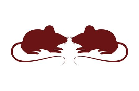cute little mouses isolated icons vector illustration design