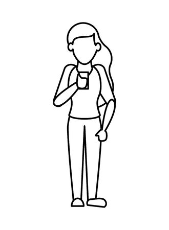 woman using smartphone avatar character vector illustration design Ilustracja