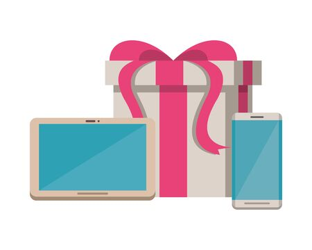gift box present with tablet and smartphone devices vector illustration design Ilustrace