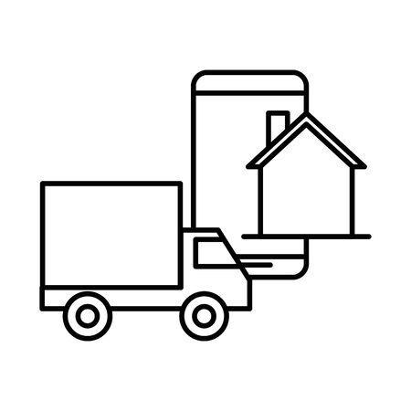 delivery service truck with smartphone vector illustration design
