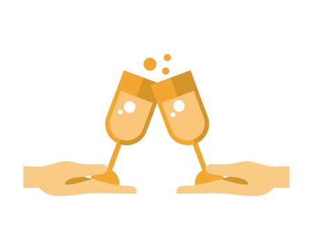 champagne cups with hearts love vector illustration design