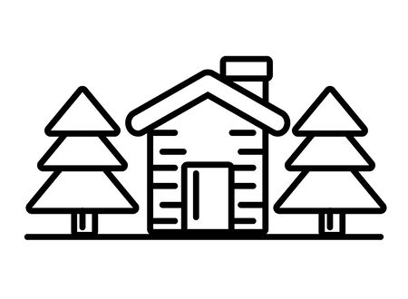happy merry christmas house with pines vector illustration design