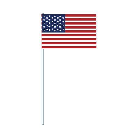 Flag of United States of America On Flag Pole over white background, vector illustration