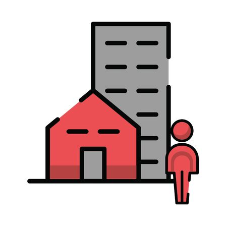 pedestrian silhouette walking with buildings vector illustration design