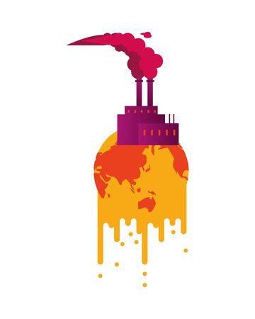 world planet melting global warming with factory building vector illustration design