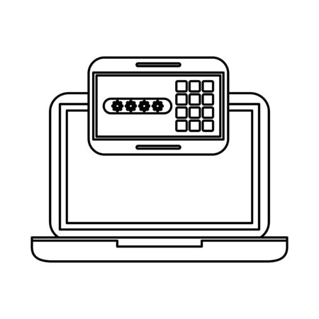 password code security panel digital and laptop vector illustration design