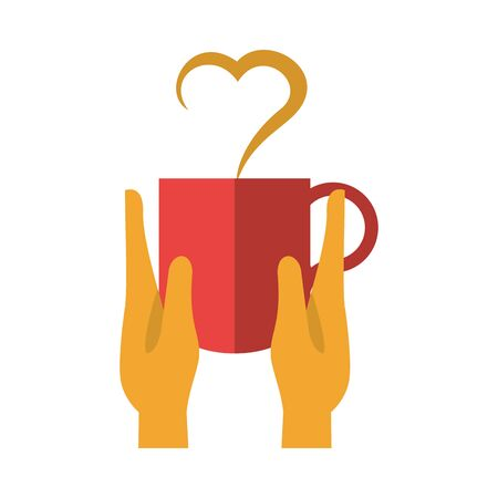 hands lifting coffee cup with heart vector illustration design