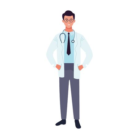 doctor man standing icon over white background, vector illustration