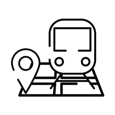 paper map guide with subway vehicle vector illustration design