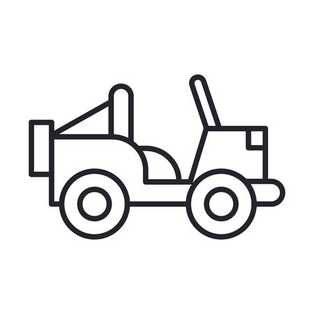 military vehicle line and fill style icon vector illustration design