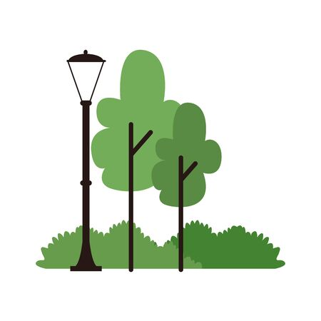 trees and street lamp icon over white background, colorful design, vector illustration