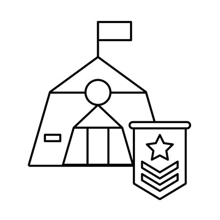 tent military force with medal vector illustration design