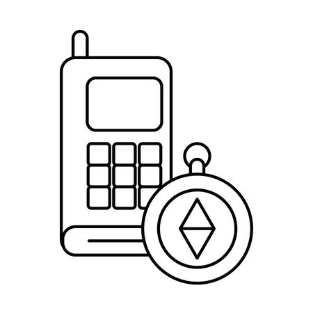 communicator radio military force with compass vector illustration design