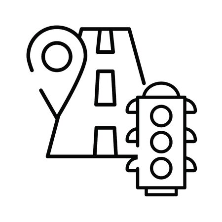 semaphore traffic light with road vector illustration design