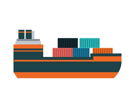 merchant ship with containers icons vector illustration design