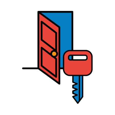 house door with key icon vector illustration design