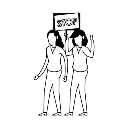young women protesting with stop label characters vector illustration design