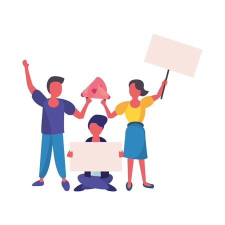 activists people with protest banners and megaphone vector illustration design Illustration