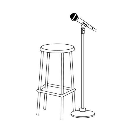 bar stool and microphone stand icon over white background, flat design, vector illustration