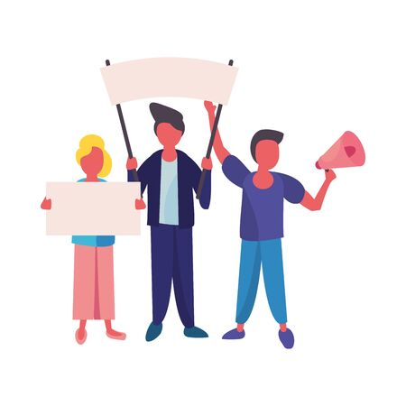 activists people with protest banners and megaphone vector illustration design Ilustracja