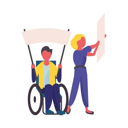 activist couple in wheelchair with protest banner vector illustration design
