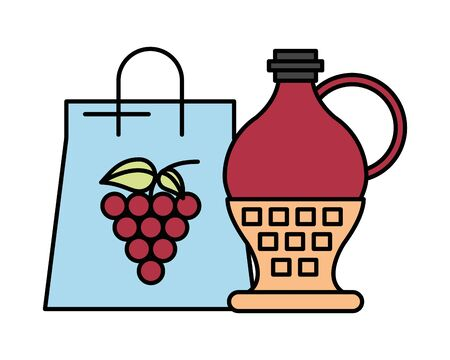 grapes fresh fruits in paper shopping bag vector illustration design Иллюстрация