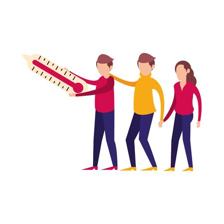 people lifting thermometer measure characters vector illustration design Illusztráció