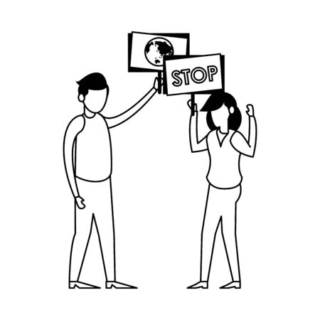 young couple protesting with earth planet in label characters vector illustration design