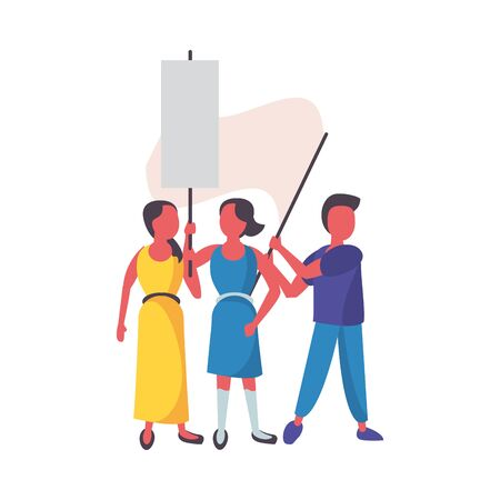 activists people with protest banners vector illustration design Illusztráció