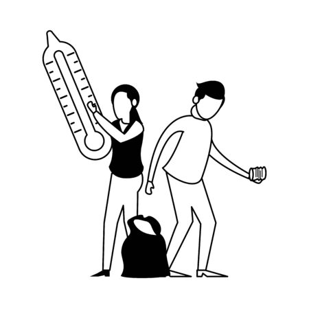 couple lifting thermometer and garbage plastic bag vector illustration design