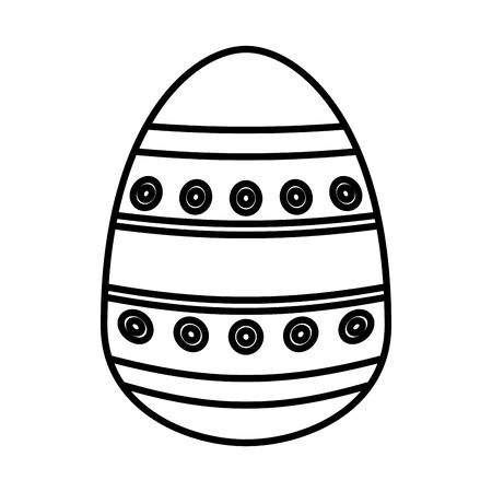 easter egg painted with bars and points flat style vector illustration design