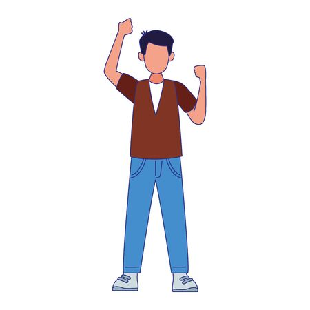 cartoon man standing with fists up over white background, vector illustration