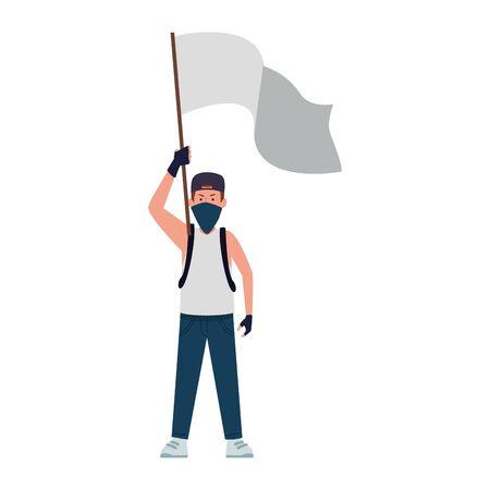 cartoon man protestating holding a white flag over white background, colorful design, vector illustration