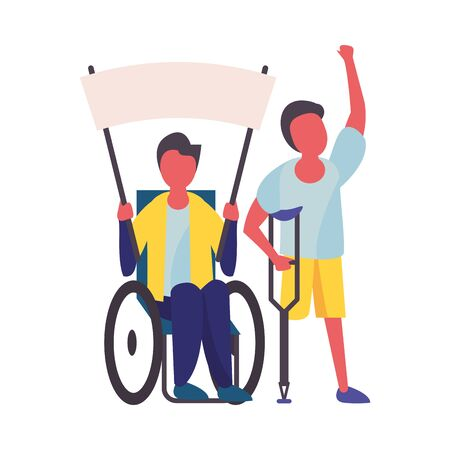 activist men in wheelchair and crutch with protest banner vector illustration design Ilustracja