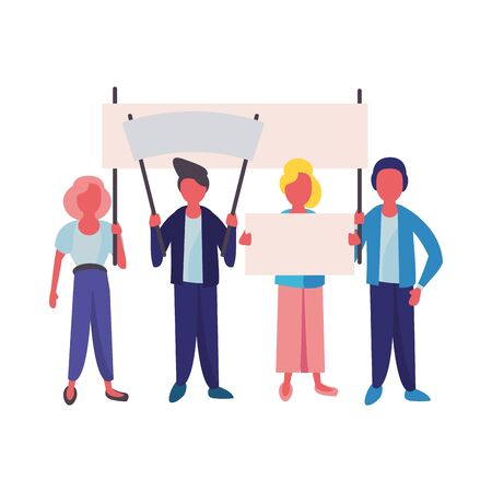 activists people with protest banners vector illustration design Ilustracja