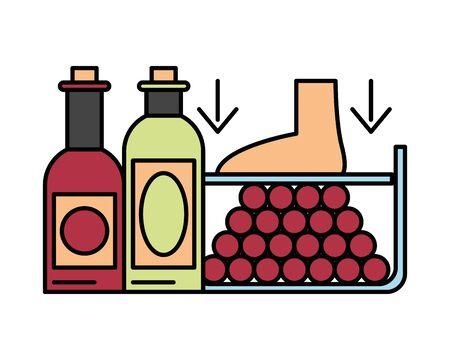 grapes fresh fruits with crushing foot vector illustration design Иллюстрация